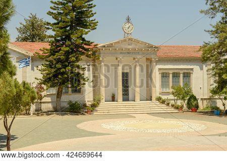 School Building At The Village Of Lefkara On Cyprus