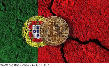 Bitcoin Crypto Currency Coin With Cracked Portugal Flag. Crypto Restrictions