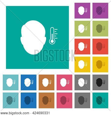 Fever Measurement Multi Colored Flat Icons On Plain Square Backgrounds. Included White And Darker Ic
