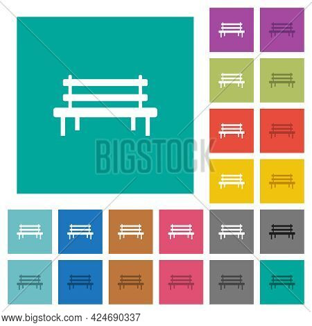 Park Bench Multi Colored Flat Icons On Plain Square Backgrounds. Included White And Darker Icon Vari