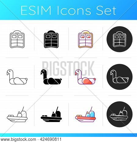Summer Vacations Icons Set. Double Pool Float. Animal-themed Swim Ring. Lifeboat For Victims Rescuin