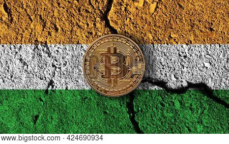 Bitcoin Crypto Currency Coin With Cracked India Flag. Crypto Restrictions