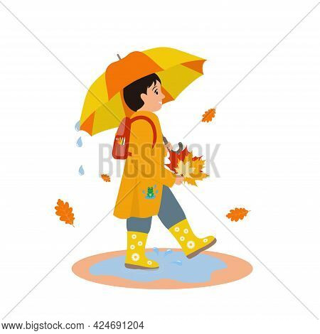 Smiling Child In Orange Raincoat And Yellow Rubber Boots Walks Through The Puddles With Umbrella. Bo