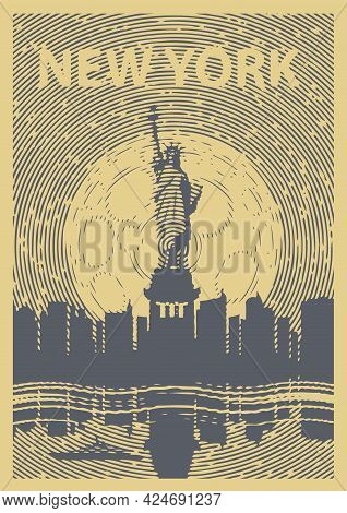 Vector Banner With The Famous American Statue Of Liberty Against The Silhouettes Of Night New York S