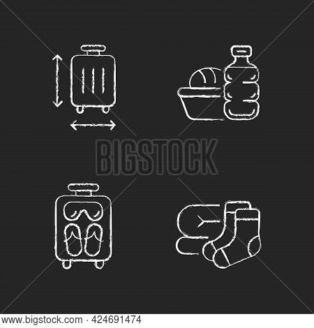 Airplane Travel Essential Pack Chalk White Icons Set On Dark Background. Suitcase Size. Meal During