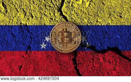 Bitcoin Crypto Currency Coin With Cracked Venezuela Flag. Crypto Restrictions