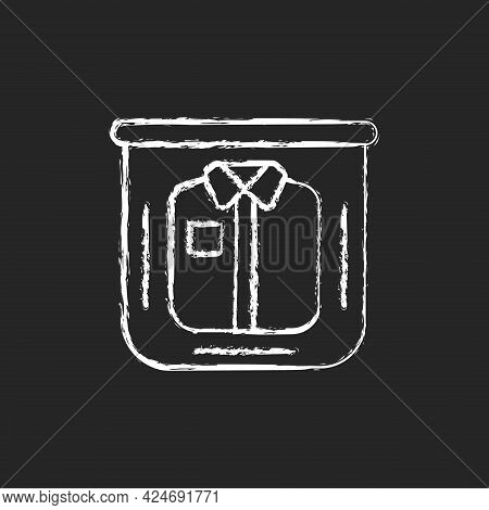 Clothing In Plastic Bag Chalk White Icon On Dark Background. Clear Compress Wrap For Garment Packing