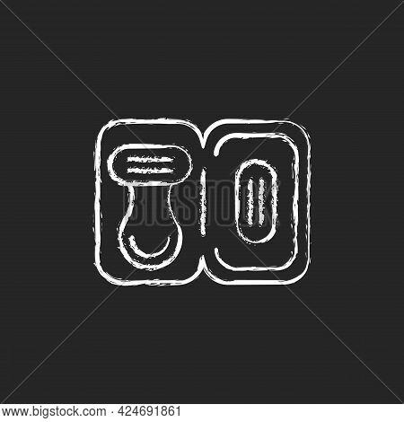 Travel Size Razor Chalk White Icon On Dark Background. Shaving Tools For Trip. Portable Hygienic Ame