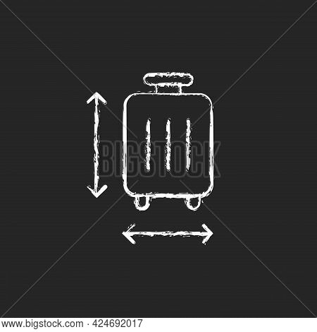 Baggage Size Chalk White Icon On Dark Background. Measuring Luggage For Airport Regulation. Suitcase