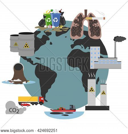 Environmental Problems, Environmental Pollution. Environmental Problems Icons. Vector.