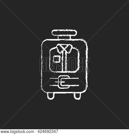 Open Suitcase With Clothing Chalk White Icon On Dark Background. Garments And Apparel In Traveller B