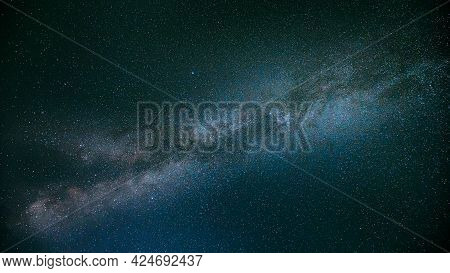 Natural Real Night Sky Stars With Milky Way Galaxy