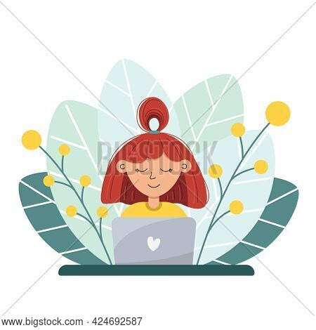 Woman With Red Hair Work By Laptop Sitting In Nature With Green Leaves On Background. Concept Of Wor