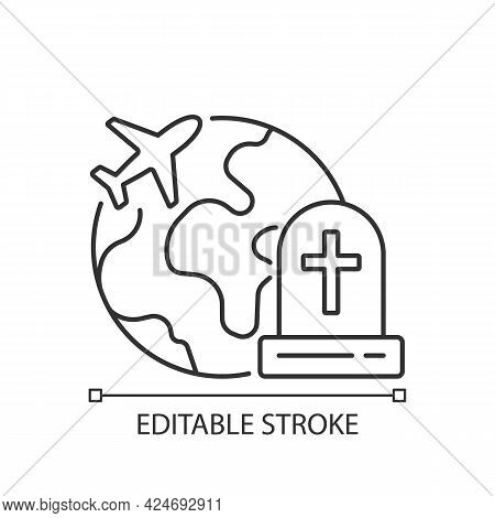 Tombstone Tourism Linear Icon. Cemetery Exploration Enthusiast Traveller. Fly Abroad For Funeral. Th