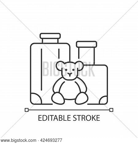 Family Vacation Linear Icon. Kid Friendly Trip. Travel With Children. Recreation For Child. Thin Lin