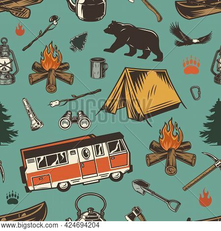 Vintage Outdoor Recreation Seamless Pattern With Colorful Trees Animals Motorhome Camping Tools And