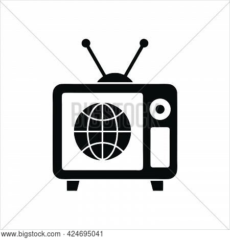 Old Tv Icon Isolated On White Background. Old Tv Icon Simple Sign.
