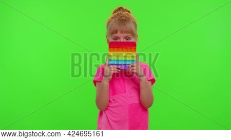 Cute Little Children Girl Squeezing Presses Colorful Anti-stress Touch Screen Push Pop It Popular To