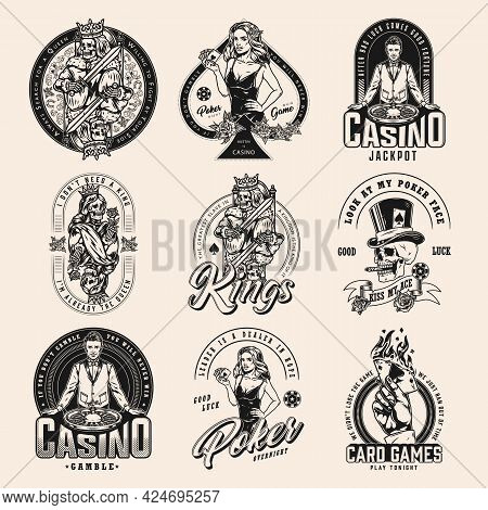 Gambling Vintage Badges Collection With Gambler Skull Skeleton Queen And King Pretty Poker Ladies Ha