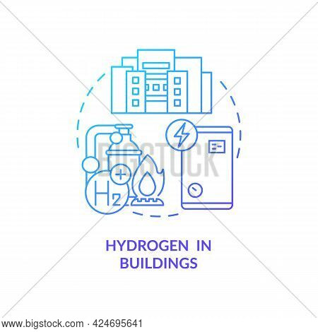Hydrogen In Buildings Concept Icon. Use Renewable Energy Abstract Idea Thin Line Illustration. Green
