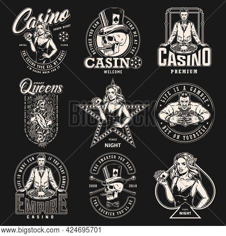 Casino Monochrome Vintage Labels Set With Gambler Skull Smoking Cigar Croupier Skeleton Queen For Pl