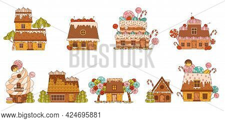 Sweet Candy House Made Of Cookie Dough As Shaped Baked Confectionery Vector Set