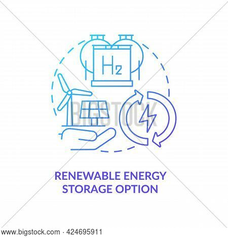 Renewable Energy Storage Option Concept Icon. Compressing And Storing In Tanks Abstract Idea Thin Li