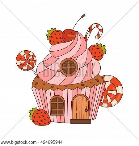 Sweet Candy House Made Of Cookie Dough As Shaped Baked Confectionery Vector Illustration
