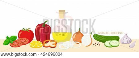 Tomato Soup. Set Of Foods To Make Gazpacho. Culinary Course Poster Concept. Vegetables For Recipe Po