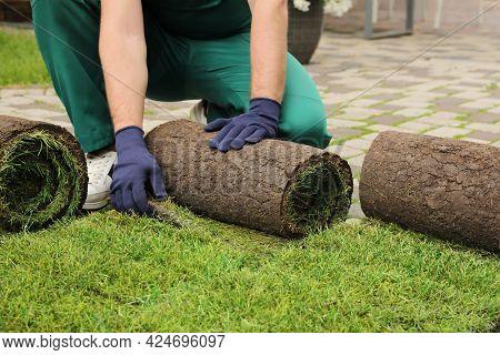Worker Unrolling Grass Sods On Pavement At Backyard, Closeup