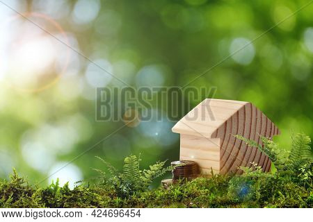 Eco Friendly Home. House Model And Coins On Green Grass Outdoors, Space For Text