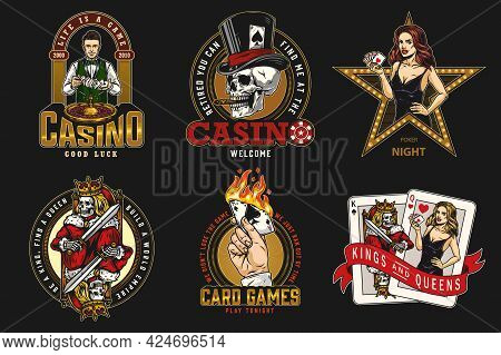 Casino Vintage Colorful Emblems With Gambler Skull Smoking Cigar Croupier Hand Holding Burning Ace O
