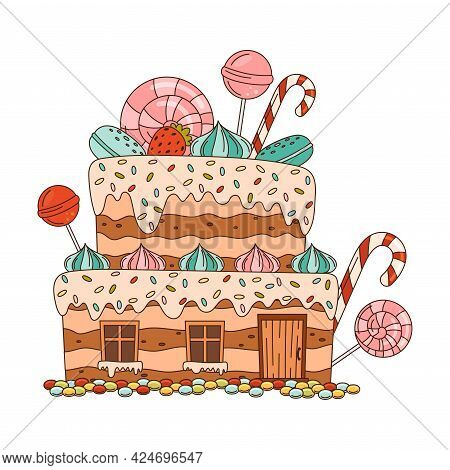 Sweet Candy House Of Cookie Dough With Sugar Glaze And Lollipop As Shaped Baked Confectionery Vector