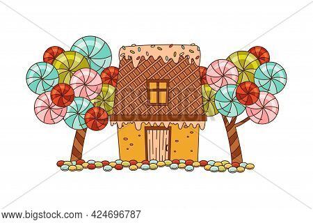 Sweet Candy House Of Cookie Dough With Sugar Glaze And Lollipop Tree As Shaped Baked Confectionery V