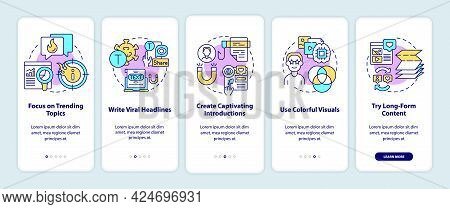 Viral Content Creation Tips Onboarding Mobile App Page Screen. Trending Topics Walkthrough 5 Steps G