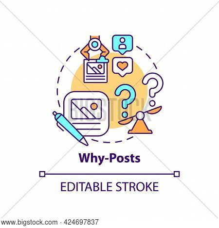 Why-posts Concept Icon. Top Viral Posts Type Abstract Idea Thin Line Illustration. Providing Audienc