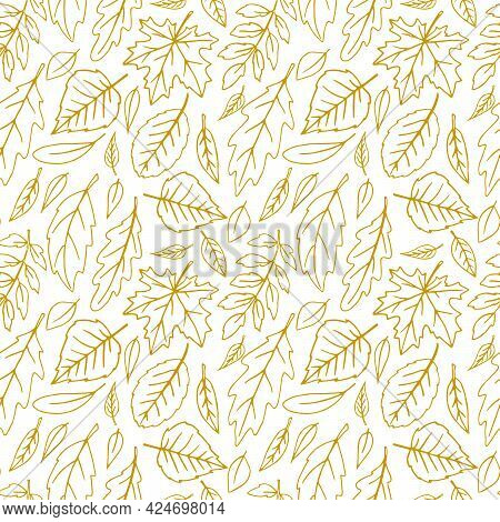 Seamless Pattern Falling Leaves. Vector Autumn Texture Isolated On White Background, Hand Drawn In S