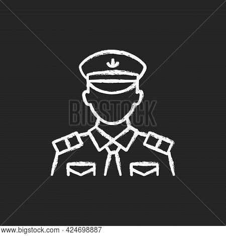 Male Chief Officer Chalk White Icon On Dark Background. Helping Captain Organize Comfortable Trip. C