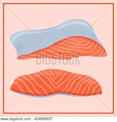 Fresh Tasty Salmon Sea Fish Fillets Vector Hand Drawn Illustration Isolated On Red Background.
