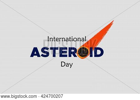 International Asteroid Day Typography On White Background. Asteroid Symbol.