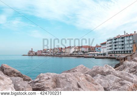 A Panoramic Of Old Historical Adriatic City Of Piran, Slovenia. View Over The Tiled Roofs Of Piran A