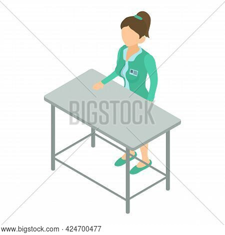 Veterinary Clinic Icon Isometric Vector. Doctor Woman Stands At Table. Veterinary Medicine