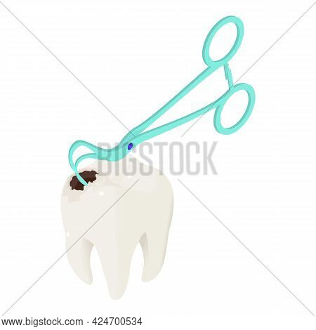 Caries Treatment Icon Isometric Vector. Damaged Tooth. Dental Instrument