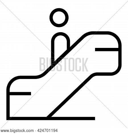 Subway Escalator Icon. Outline Subway Escalator Vector Icon For Web Design Isolated On White Backgro