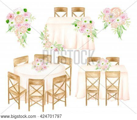 Wedding Reception Illustration Set. Watercolor Flower Bouquets, Head Table, Banquet Tables Isolated