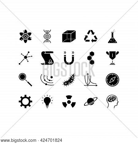 Science Concept Flat Line Icons Set. Idea Of Education And Innovation. Simple Flat Vector Illustrati