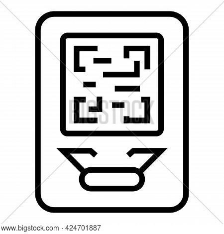 Metro Ticket Qr Code Icon. Outline Metro Ticket Qr Code Vector Icon For Web Design Isolated On White