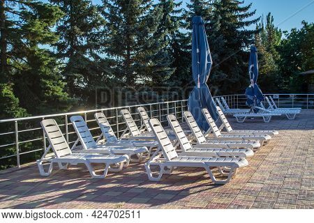 Empty Sun Loungers Near The Pool Surrounded By Pine Forest