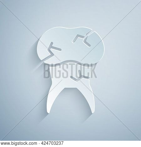 Paper Cut Tooth With Caries Icon Isolated On Grey Background. Tooth Decay. Paper Art Style. Vector
