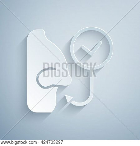 Paper Cut Healthy Breathing Icon Isolated On Grey Background. Breathing Nose. Paper Art Style. Vecto